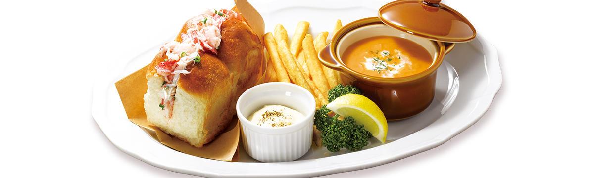 蟹と海老のサンドイッチ&オマール海老のクリームスープ